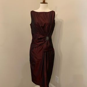 Anne Klein dark red satin cocktail dress w/ brooch